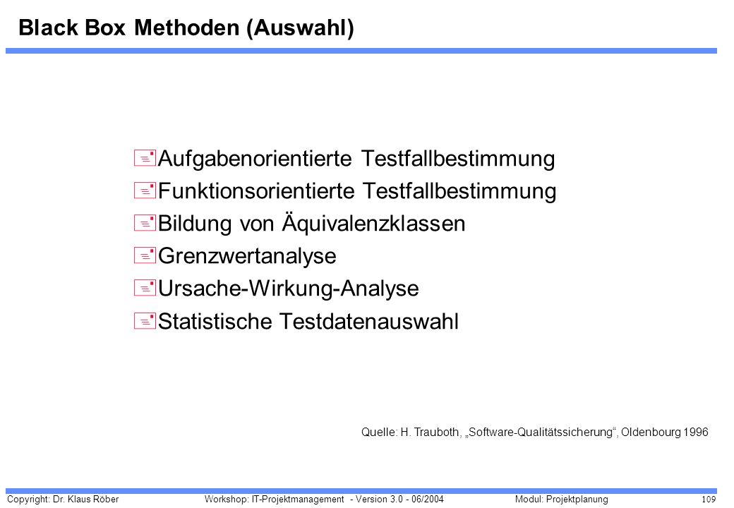 Copyright: Dr. Klaus Röber 109 Workshop: IT-Projektmanagement - Version 3.0 - 06/2004Modul: Projektplanung Black Box Methoden (Auswahl) +Aufgabenorien