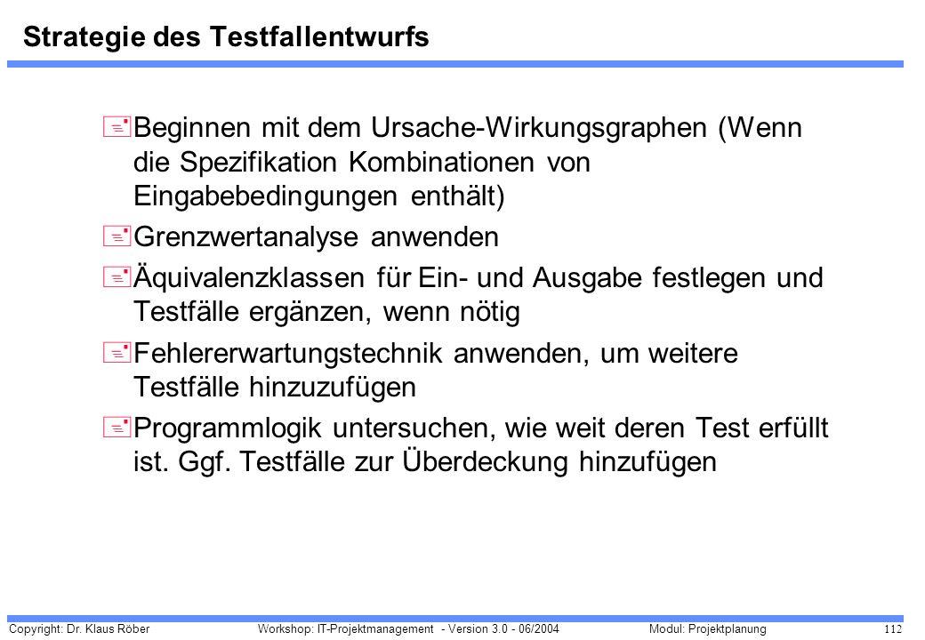 Copyright: Dr. Klaus Röber 112 Workshop: IT-Projektmanagement - Version 3.0 - 06/2004Modul: Projektplanung Strategie des Testfallentwurfs +Beginnen mi