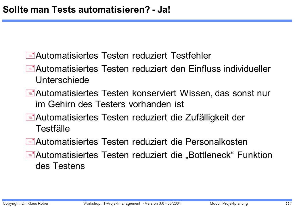 Copyright: Dr. Klaus Röber 117 Workshop: IT-Projektmanagement - Version 3.0 - 06/2004Modul: Projektplanung Sollte man Tests automatisieren? - Ja! +Aut