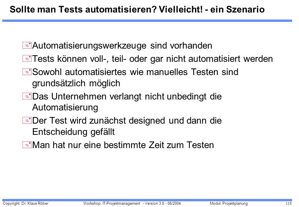 Copyright: Dr. Klaus Röber 118 Workshop: IT-Projektmanagement - Version 3.0 - 06/2004Modul: Projektplanung Sollte man Tests automatisieren? Vielleicht