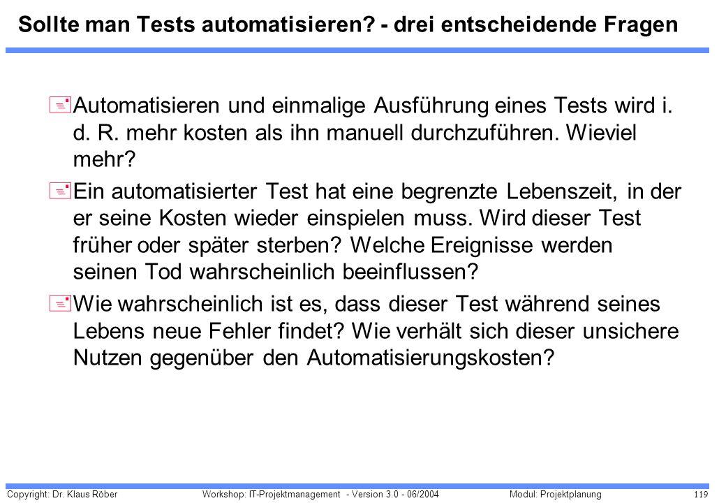 Copyright: Dr. Klaus Röber 119 Workshop: IT-Projektmanagement - Version 3.0 - 06/2004Modul: Projektplanung Sollte man Tests automatisieren? - drei ent