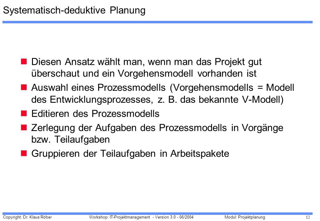 Copyright: Dr. Klaus Röber 12 Workshop: IT-Projektmanagement - Version 3.0 - 06/2004Modul: Projektplanung Systematisch-deduktive Planung Diesen Ansatz
