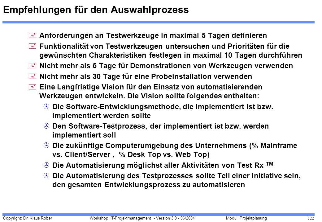 Copyright: Dr. Klaus Röber 122 Workshop: IT-Projektmanagement - Version 3.0 - 06/2004Modul: Projektplanung Empfehlungen für den Auswahlprozess +Anford
