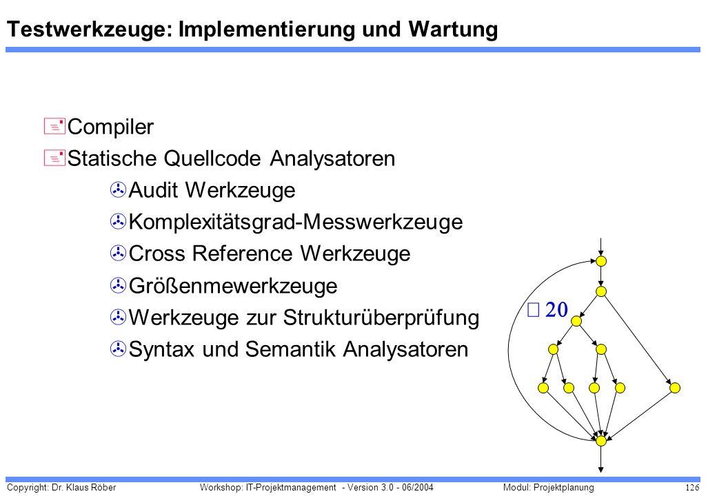 Copyright: Dr. Klaus Röber 126 Workshop: IT-Projektmanagement - Version 3.0 - 06/2004Modul: Projektplanung Testwerkzeuge: Implementierung und Wartung