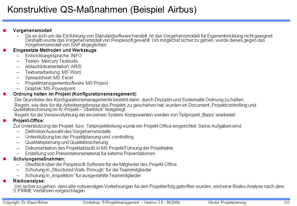 Copyright: Dr. Klaus Röber 130 Workshop: IT-Projektmanagement - Version 3.0 - 06/2004Modul: Projektplanung Konstruktive QS-Maßnahmen (Beispiel Airbus)
