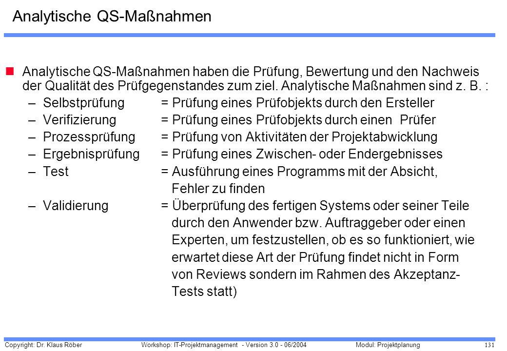 Copyright: Dr. Klaus Röber 131 Workshop: IT-Projektmanagement - Version 3.0 - 06/2004Modul: Projektplanung Analytische QS-Maßnahmen Analytische QS-Maß