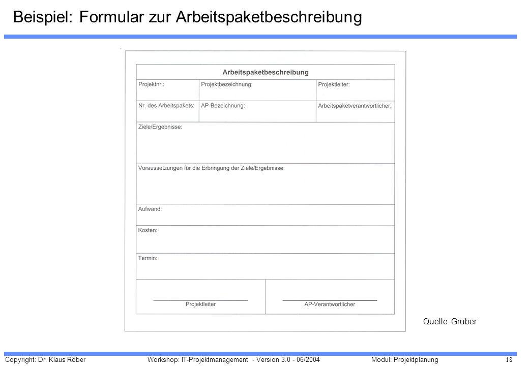 Copyright: Dr. Klaus Röber 18 Workshop: IT-Projektmanagement - Version 3.0 - 06/2004Modul: Projektplanung Beispiel: Formular zur Arbeitspaketbeschreib
