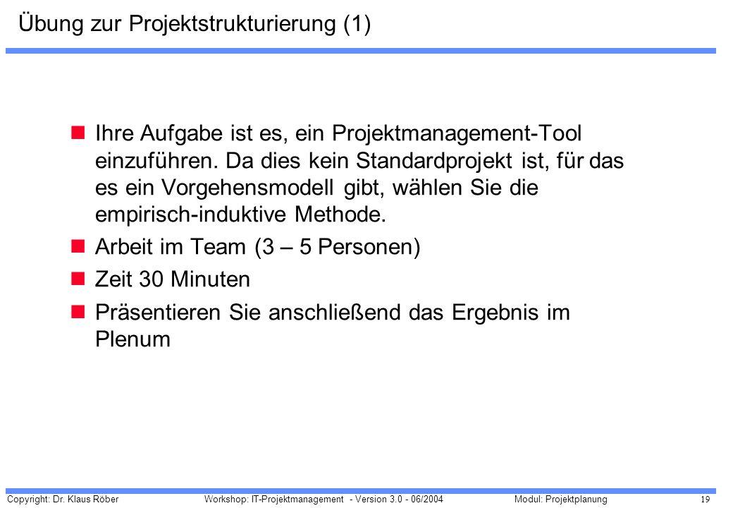 Copyright: Dr. Klaus Röber 19 Workshop: IT-Projektmanagement - Version 3.0 - 06/2004Modul: Projektplanung Übung zur Projektstrukturierung (1) Ihre Auf