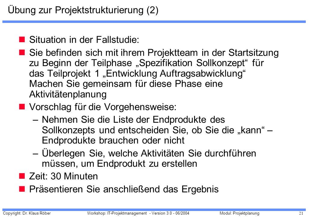 Copyright: Dr. Klaus Röber 21 Workshop: IT-Projektmanagement - Version 3.0 - 06/2004Modul: Projektplanung Übung zur Projektstrukturierung (2) Situatio
