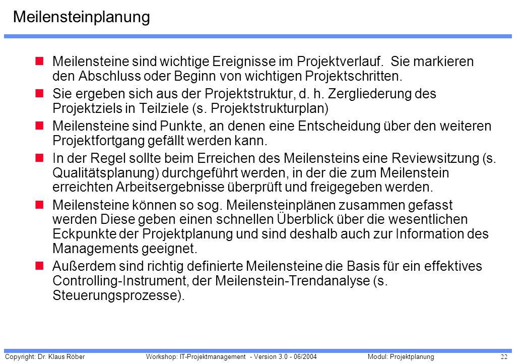Copyright: Dr. Klaus Röber 22 Workshop: IT-Projektmanagement - Version 3.0 - 06/2004Modul: Projektplanung Meilensteinplanung Meilensteine sind wichtig