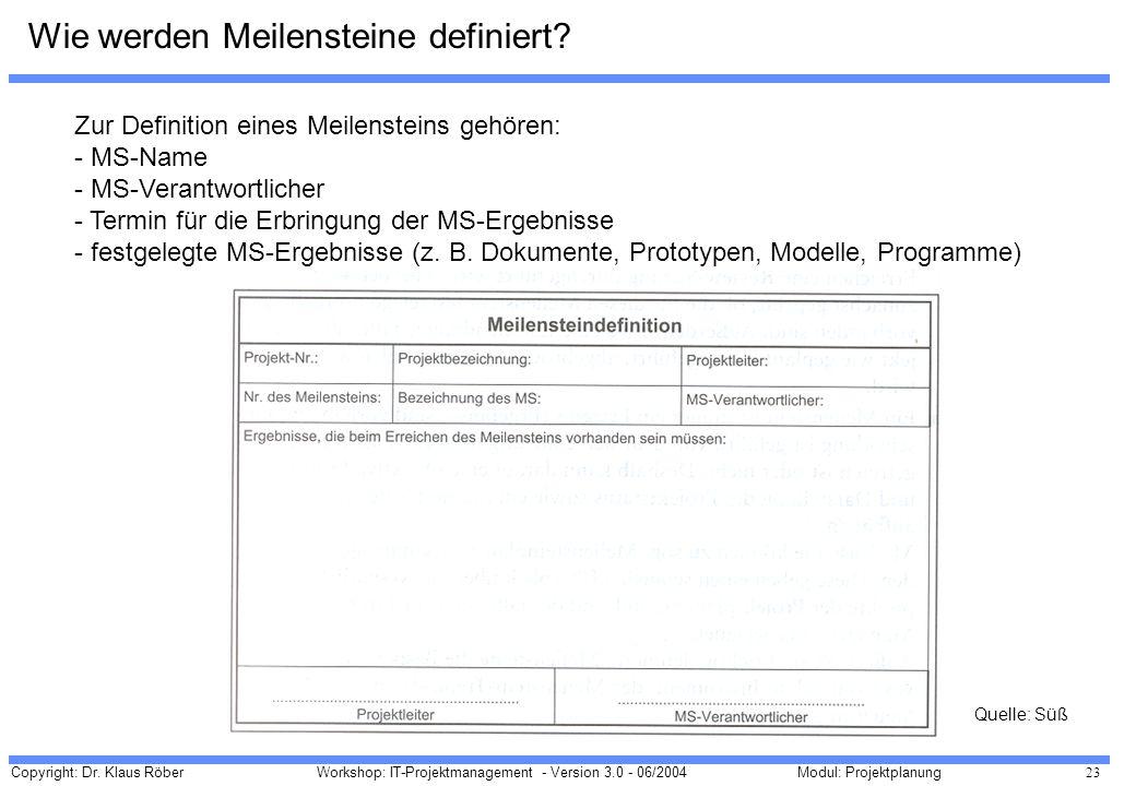 Copyright: Dr. Klaus Röber 23 Workshop: IT-Projektmanagement - Version 3.0 - 06/2004Modul: Projektplanung Wie werden Meilensteine definiert? Zur Defin