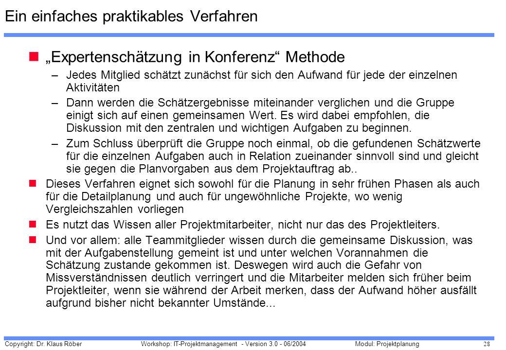 Copyright: Dr. Klaus Röber 28 Workshop: IT-Projektmanagement - Version 3.0 - 06/2004Modul: Projektplanung Ein einfaches praktikables Verfahren Experte