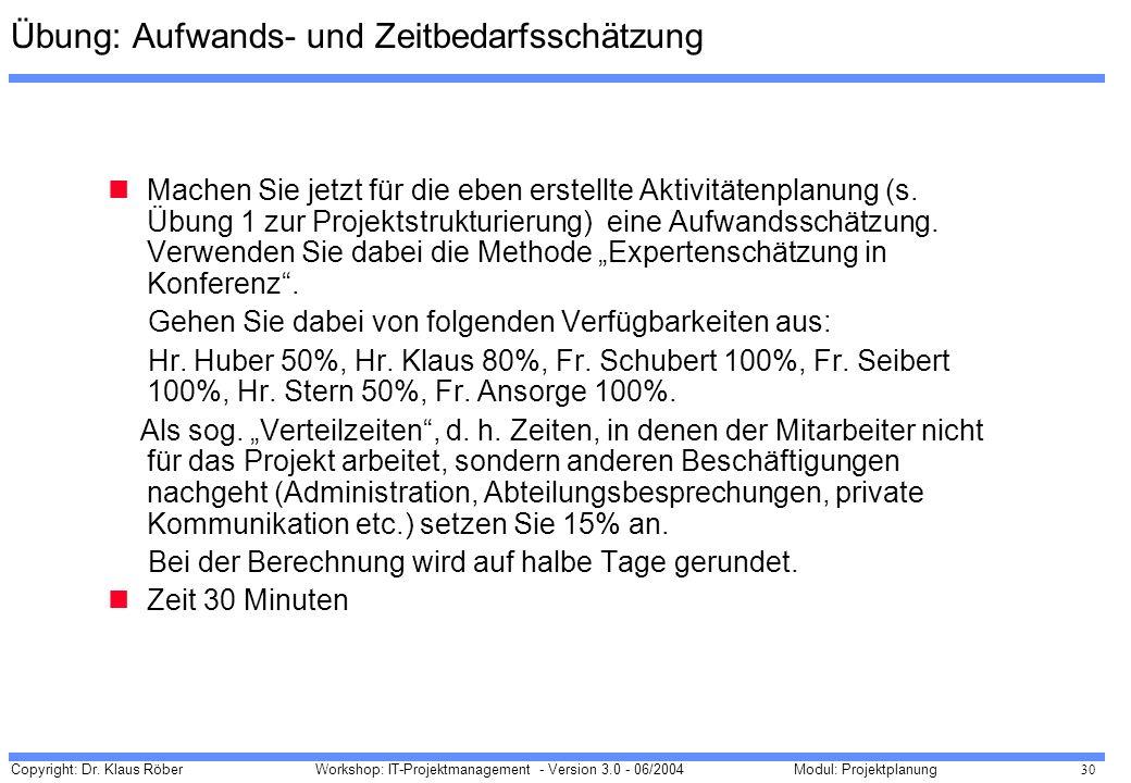 Copyright: Dr. Klaus Röber 30 Workshop: IT-Projektmanagement - Version 3.0 - 06/2004Modul: Projektplanung Übung: Aufwands- und Zeitbedarfsschätzung Ma