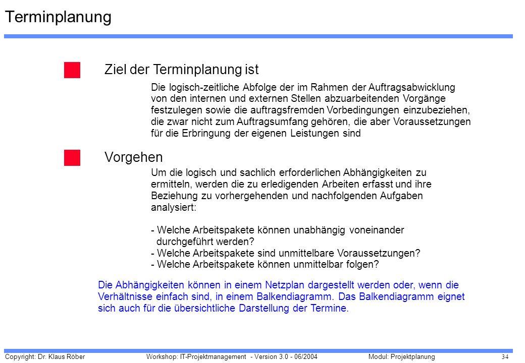 Copyright: Dr. Klaus Röber 34 Workshop: IT-Projektmanagement - Version 3.0 - 06/2004Modul: Projektplanung Terminplanung Ziel der Terminplanung ist Vor