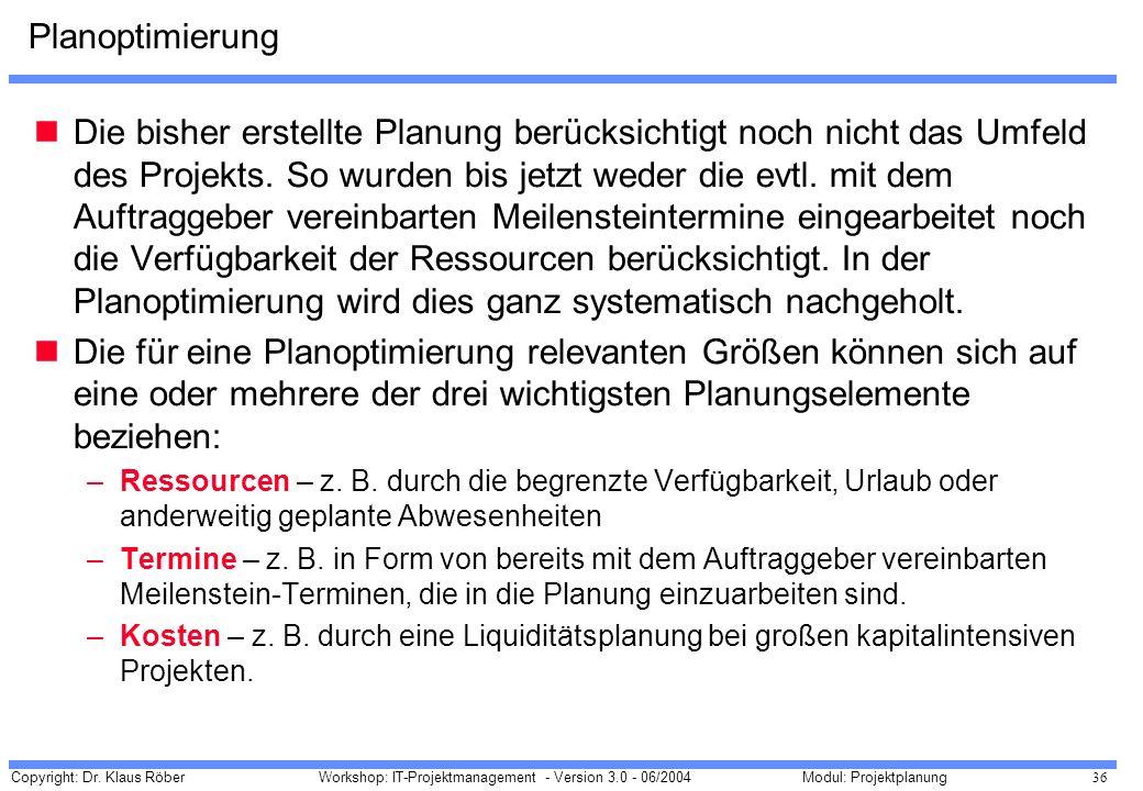 Copyright: Dr. Klaus Röber 36 Workshop: IT-Projektmanagement - Version 3.0 - 06/2004Modul: Projektplanung Planoptimierung Die bisher erstellte Planung