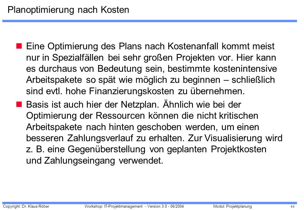 Copyright: Dr. Klaus Röber 44 Workshop: IT-Projektmanagement - Version 3.0 - 06/2004Modul: Projektplanung Planoptimierung nach Kosten Eine Optimierung