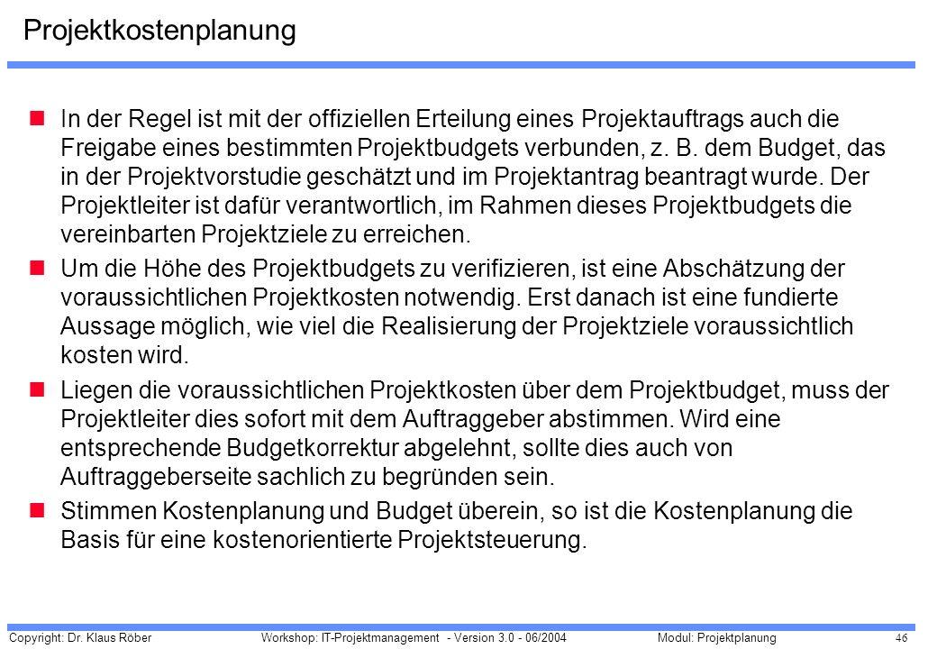 Copyright: Dr. Klaus Röber 46 Workshop: IT-Projektmanagement - Version 3.0 - 06/2004Modul: Projektplanung Projektkostenplanung In der Regel ist mit de