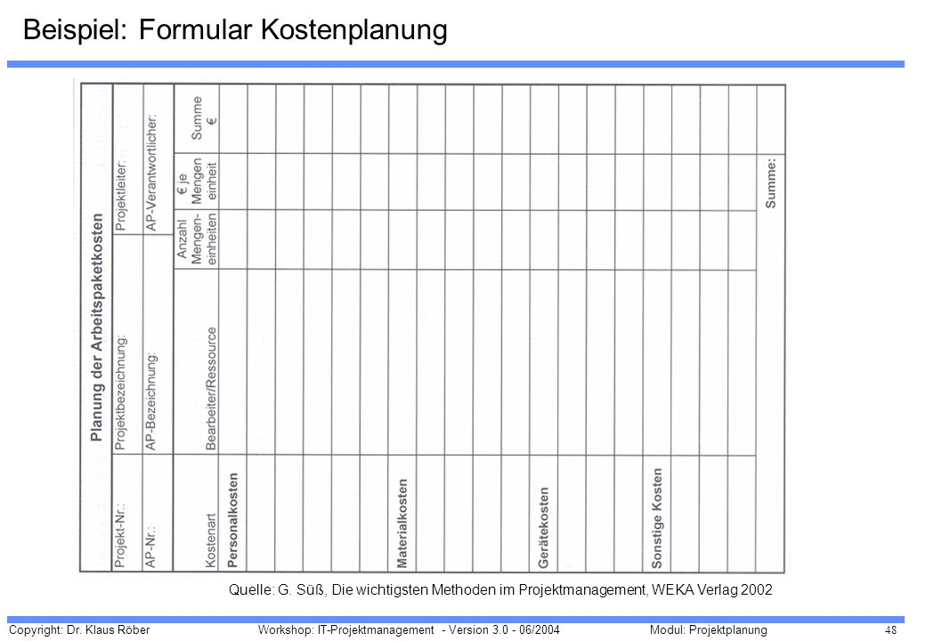 Copyright: Dr. Klaus Röber 48 Workshop: IT-Projektmanagement - Version 3.0 - 06/2004Modul: Projektplanung Beispiel: Formular Kostenplanung Quelle: G.