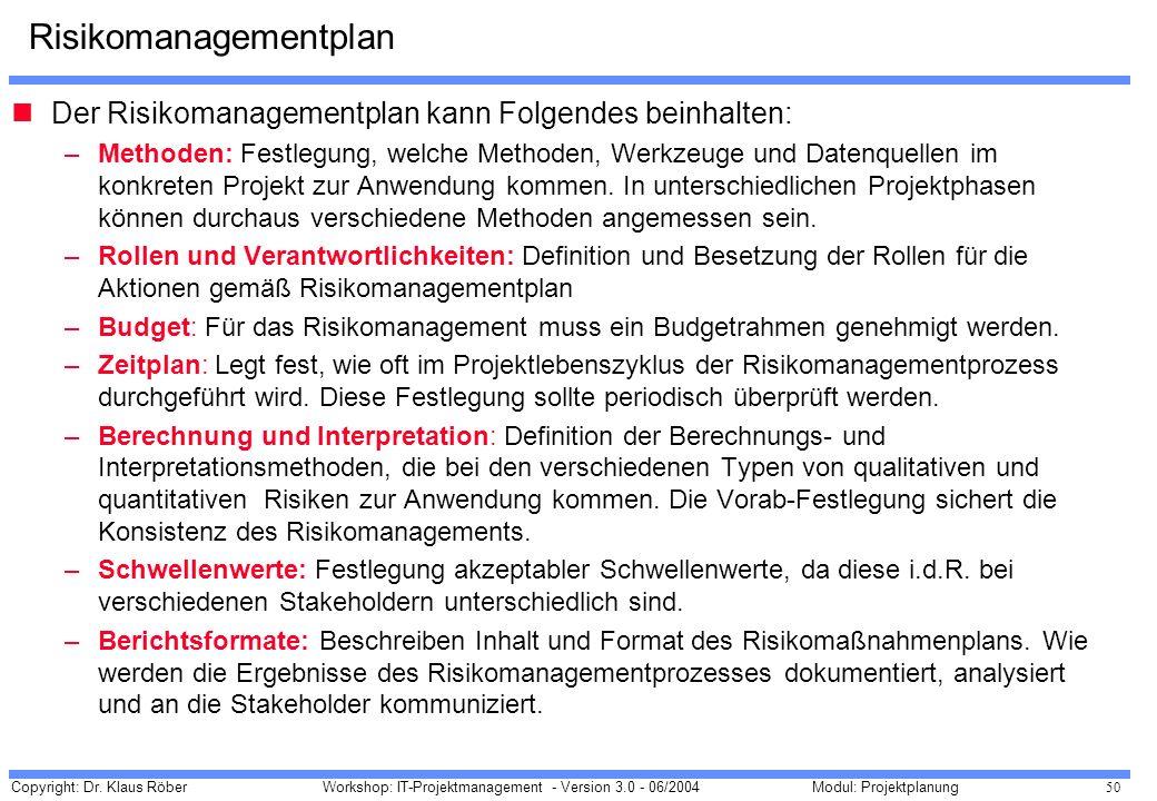 Copyright: Dr. Klaus Röber 50 Workshop: IT-Projektmanagement - Version 3.0 - 06/2004Modul: Projektplanung Risikomanagementplan Der Risikomanagementpla