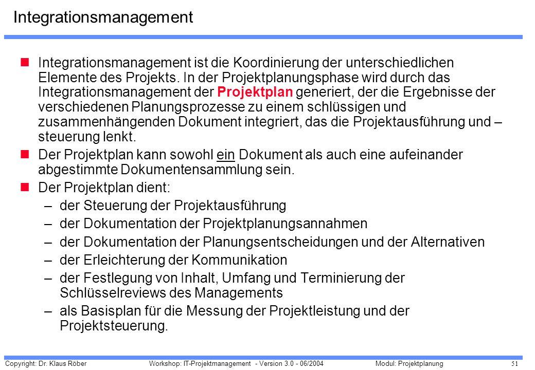 Copyright: Dr. Klaus Röber 51 Workshop: IT-Projektmanagement - Version 3.0 - 06/2004Modul: Projektplanung Integrationsmanagement Integrationsmanagemen