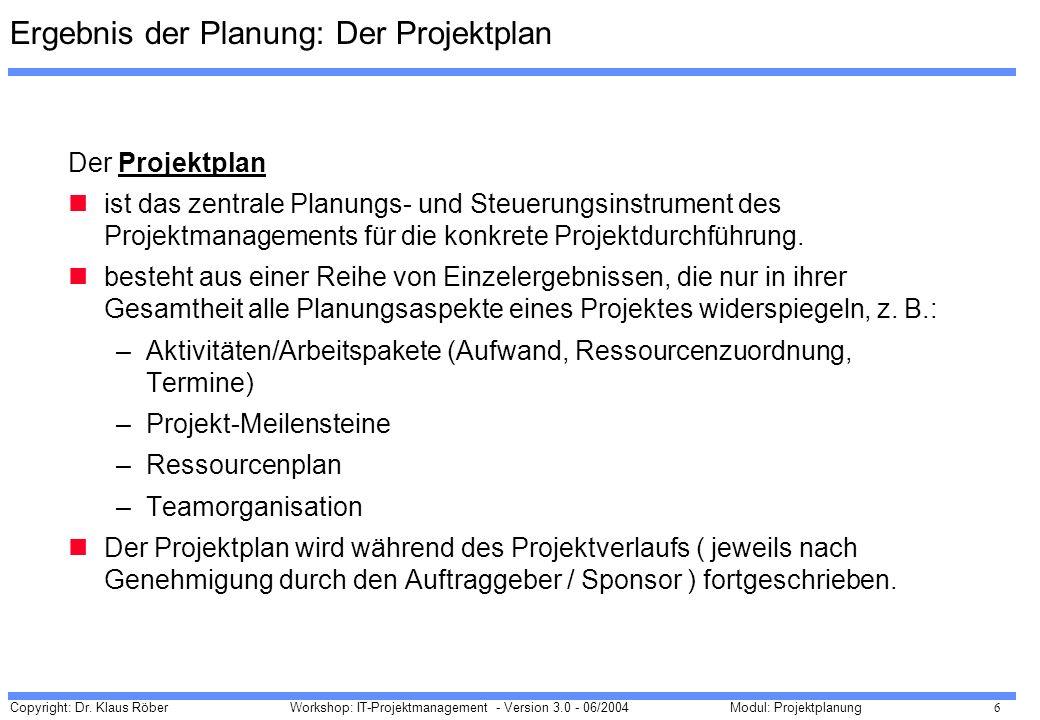 Copyright: Dr. Klaus Röber 6 Workshop: IT-Projektmanagement - Version 3.0 - 06/2004Modul: Projektplanung Der Projektplan ist das zentrale Planungs- un