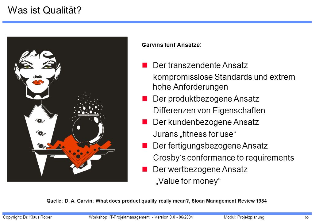 Copyright: Dr. Klaus Röber 65 Workshop: IT-Projektmanagement - Version 3.0 - 06/2004Modul: Projektplanung Garvins fünf Ansätze : Der transzendente Ans