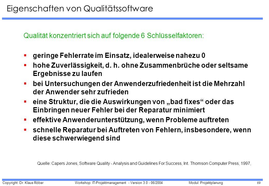 Copyright: Dr. Klaus Röber 69 Workshop: IT-Projektmanagement - Version 3.0 - 06/2004Modul: Projektplanung Qualität konzentriert sich auf folgende 6 Sc