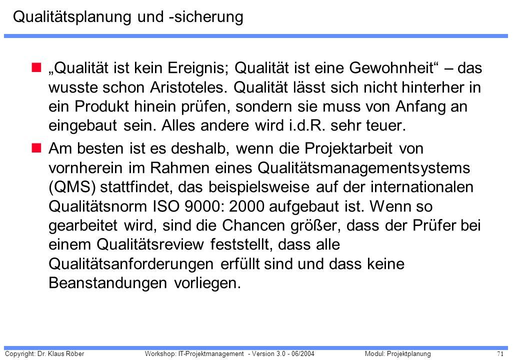 Copyright: Dr. Klaus Röber 71 Workshop: IT-Projektmanagement - Version 3.0 - 06/2004Modul: Projektplanung Qualitätsplanung und -sicherung Qualität ist