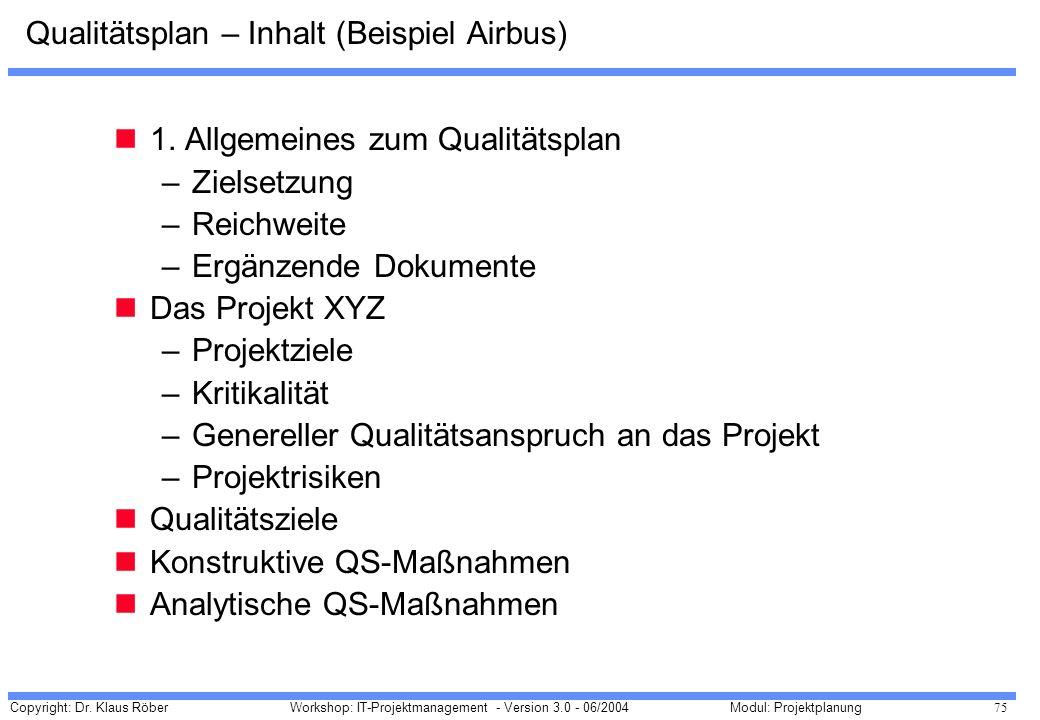 Copyright: Dr. Klaus Röber 75 Workshop: IT-Projektmanagement - Version 3.0 - 06/2004Modul: Projektplanung Qualitätsplan – Inhalt (Beispiel Airbus) 1.