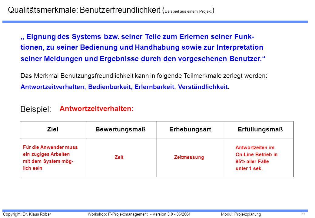 Copyright: Dr. Klaus Röber 77 Workshop: IT-Projektmanagement - Version 3.0 - 06/2004Modul: Projektplanung Eignung des Systems bzw. seiner Teile zum Er