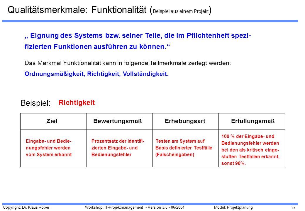 Copyright: Dr. Klaus Röber 79 Workshop: IT-Projektmanagement - Version 3.0 - 06/2004Modul: Projektplanung Eignung des Systems bzw. seiner Teile, die i