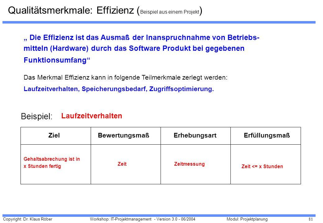 Copyright: Dr. Klaus Röber 81 Workshop: IT-Projektmanagement - Version 3.0 - 06/2004Modul: Projektplanung Die Effizienz ist das Ausmaß der Inanspruchn