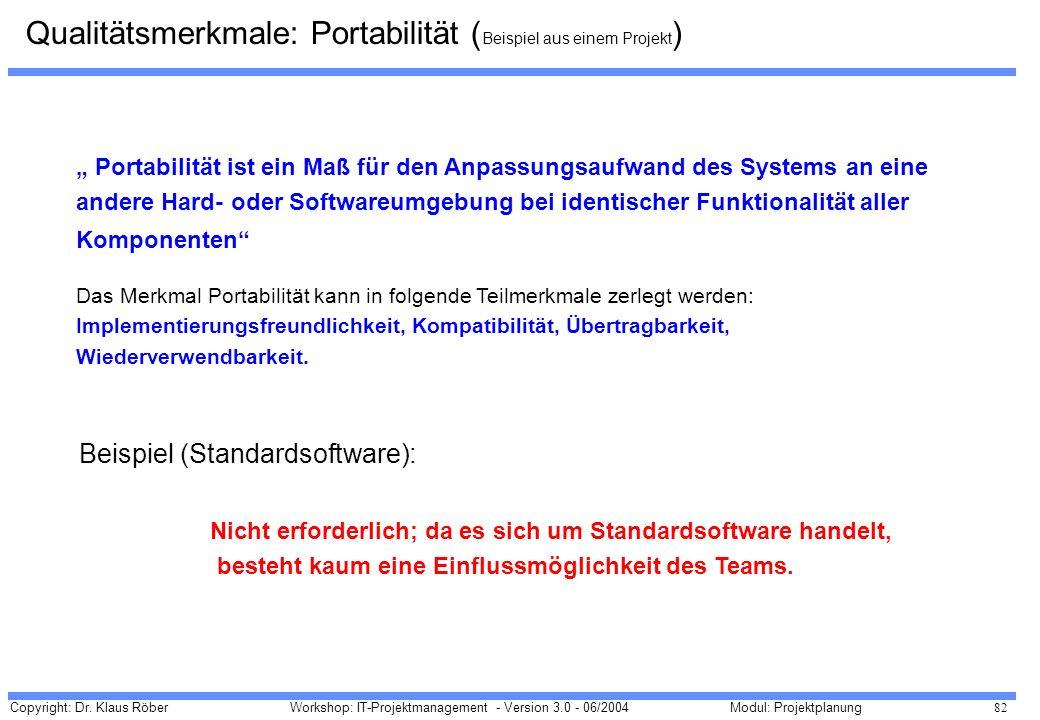 Copyright: Dr. Klaus Röber 82 Workshop: IT-Projektmanagement - Version 3.0 - 06/2004Modul: Projektplanung Portabilität ist ein Maß für den Anpassungsa