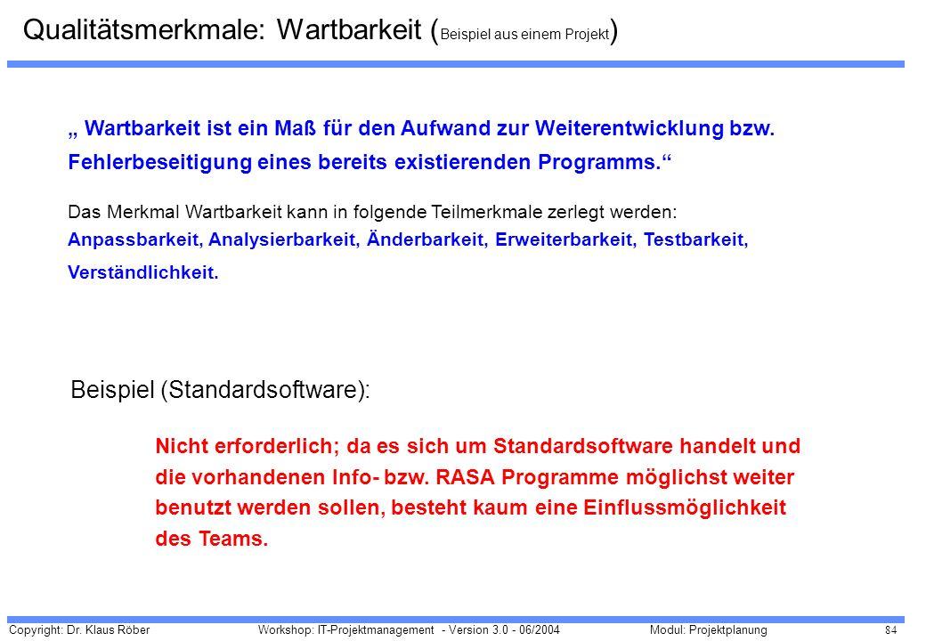 Copyright: Dr. Klaus Röber 84 Workshop: IT-Projektmanagement - Version 3.0 - 06/2004Modul: Projektplanung Wartbarkeit ist ein Maß für den Aufwand zur