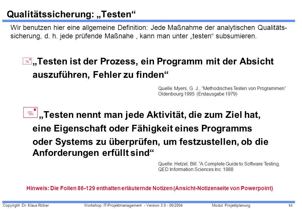 Copyright: Dr. Klaus Röber 86 Workshop: IT-Projektmanagement - Version 3.0 - 06/2004Modul: Projektplanung Qualitätssicherung: Testen +Testen ist der P