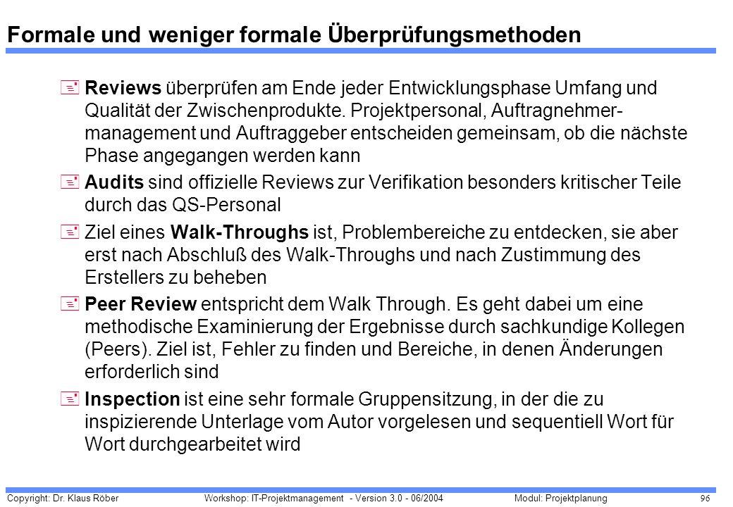 Copyright: Dr. Klaus Röber 96 Workshop: IT-Projektmanagement - Version 3.0 - 06/2004Modul: Projektplanung Formale und weniger formale Überprüfungsmeth