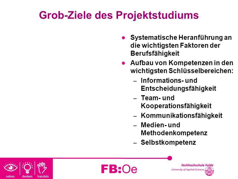 sehen denken handeln FB:Oe Grob-Ziele des Projektstudiums Systematische Heranführung an die wichtigsten Faktoren der Berufsfähigkeit Aufbau von Kompet