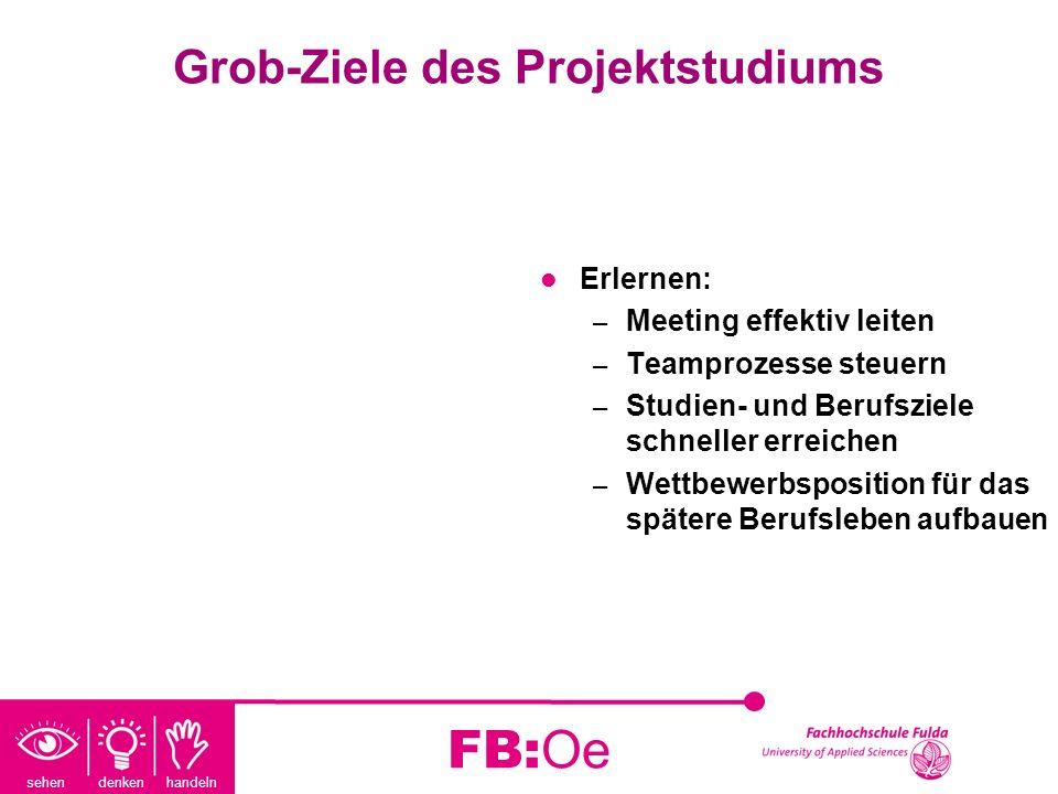 sehen denken handeln FB:Oe Grob-Ziele des Projektstudiums Erlernen: – Meeting effektiv leiten – Teamprozesse steuern – Studien- und Berufsziele schnel