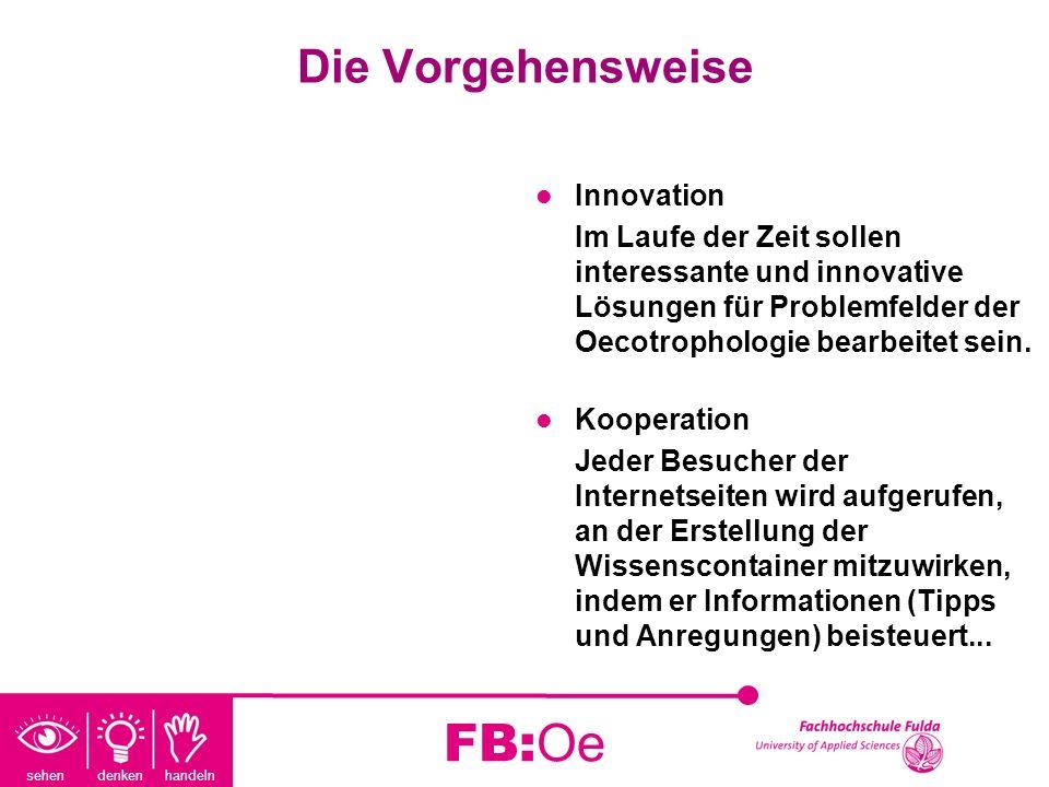 sehen denken handeln FB:Oe Die Vorgehensweise Innovation Im Laufe der Zeit sollen interessante und innovative Lösungen für Problemfelder der Oecotroph