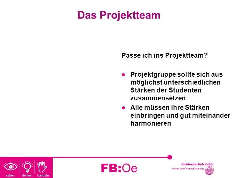 sehen denken handeln FB:Oe Das Projektteam Passe ich ins Projektteam? Projektgruppe sollte sich aus möglichst unterschiedlichen Stärken der Studenten