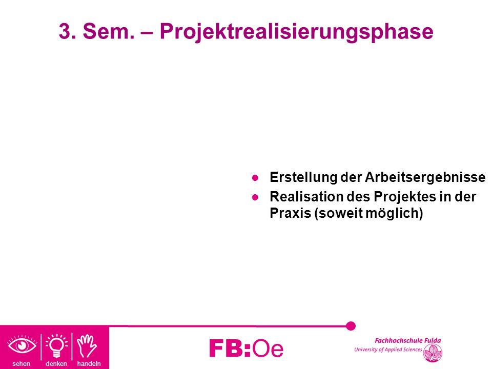 sehen denken handeln FB:Oe 3. Sem. – Projektrealisierungsphase Erstellung der Arbeitsergebnisse Realisation des Projektes in der Praxis (soweit möglic
