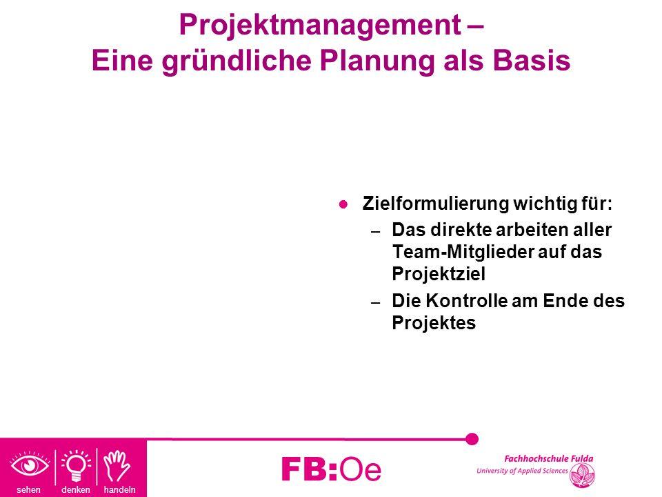 sehen denken handeln FB:Oe Projektmanagement – Eine gründliche Planung als Basis Zielformulierung wichtig für: – Das direkte arbeiten aller Team-Mitgl