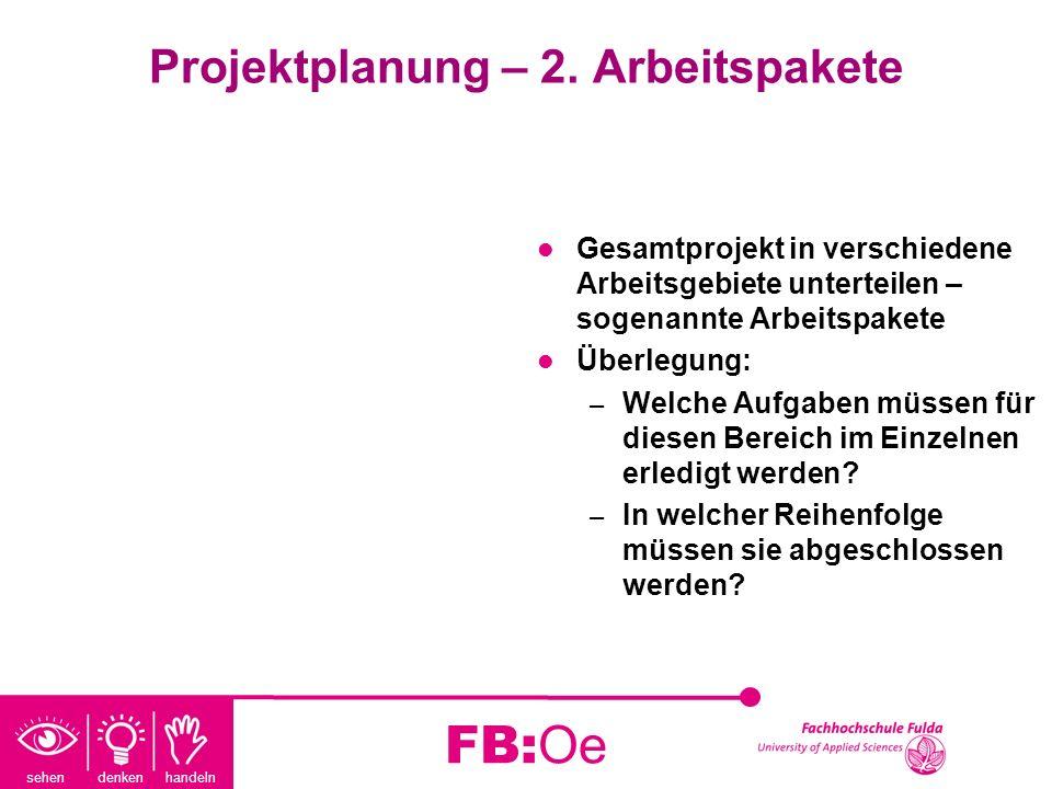 sehen denken handeln FB:Oe Projektplanung – 2. Arbeitspakete Gesamtprojekt in verschiedene Arbeitsgebiete unterteilen – sogenannte Arbeitspakete Überl