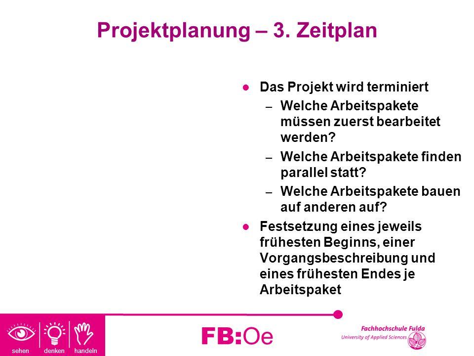 sehen denken handeln FB:Oe Projektplanung – 3. Zeitplan Das Projekt wird terminiert – Welche Arbeitspakete müssen zuerst bearbeitet werden? – Welche A