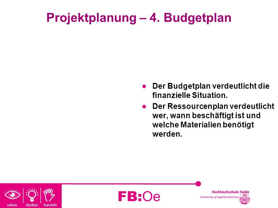 sehen denken handeln FB:Oe Projektplanung – 4. Budgetplan Der Budgetplan verdeutlicht die finanzielle Situation. Der Ressourcenplan verdeutlicht wer,