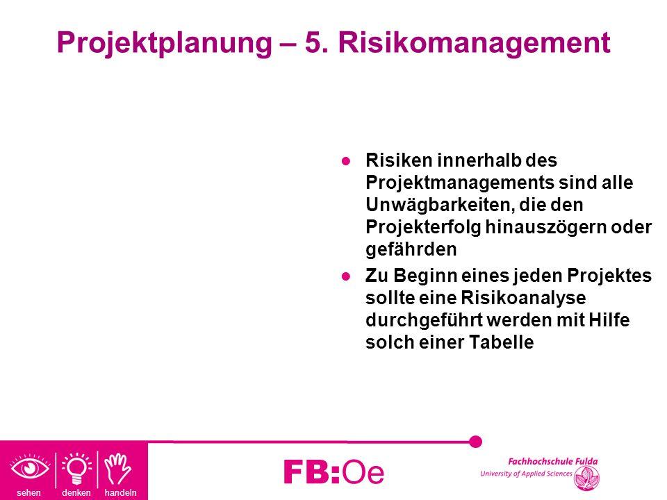 sehen denken handeln FB:Oe Projektplanung – 5. Risikomanagement Risiken innerhalb des Projektmanagements sind alle Unwägbarkeiten, die den Projekterfo