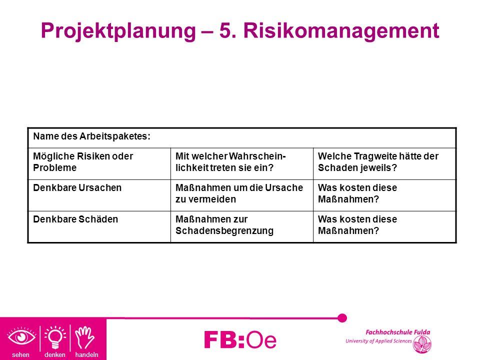 sehen denken handeln FB:Oe Projektplanung – 5. Risikomanagement Name des Arbeitspaketes: Mögliche Risiken oder Probleme Mit welcher Wahrschein- lichke