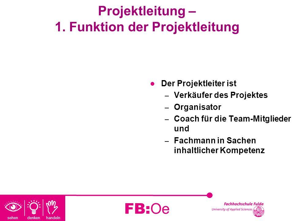 sehen denken handeln FB:Oe Projektleitung – 1. Funktion der Projektleitung Der Projektleiter ist – Verkäufer des Projektes – Organisator – Coach für d