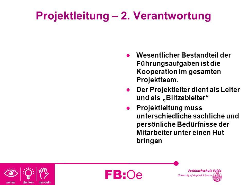 sehen denken handeln FB:Oe Projektleitung – 2. Verantwortung Wesentlicher Bestandteil der Führungsaufgaben ist die Kooperation im gesamten Projektteam