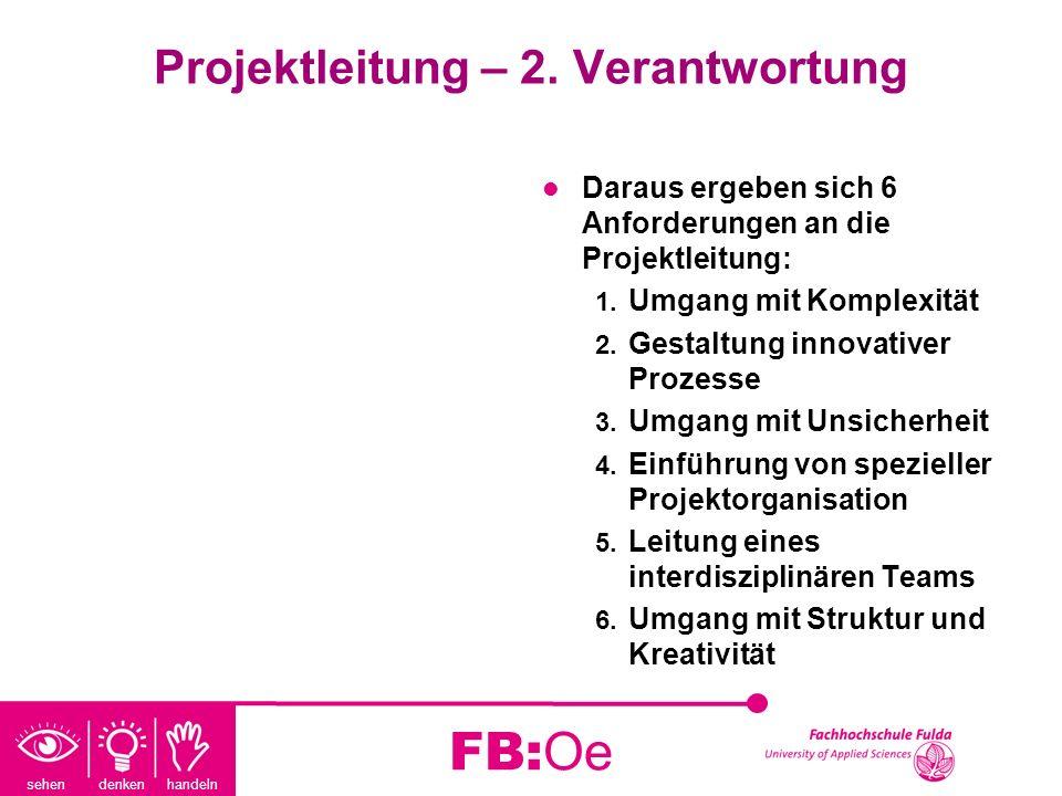 sehen denken handeln FB:Oe Projektleitung – 2. Verantwortung Daraus ergeben sich 6 Anforderungen an die Projektleitung: 1. Umgang mit Komplexität 2. G